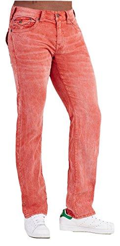 (True Religion Men's Ricky Straight Acid Wash Corduroy Pants (40, CHN Vintage RED))