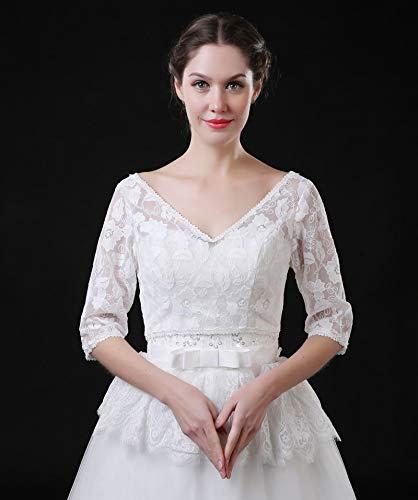 Jacket Bridal Stock - Funnmart Elegant Lace Wedding Bolero Jacket V Neck Half Sleeve Lace Bridal Jacket Wedding Accessories 2018 in Stock