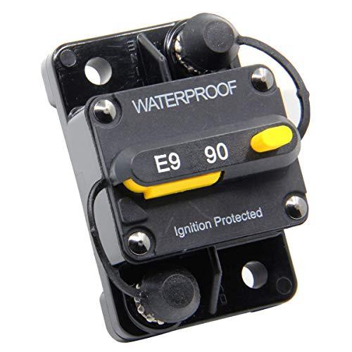 (ZOOKOTO 12V-48VDC 90 Amp Circuit Breaker, Marine Trolling Motors Boat ATV Manual Power Fuse Rest, Waterproof)