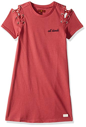 7 For All Mankind Kids Girls' Little Lace-Up Shoulder Tee Dress, Baroque Rose, 5