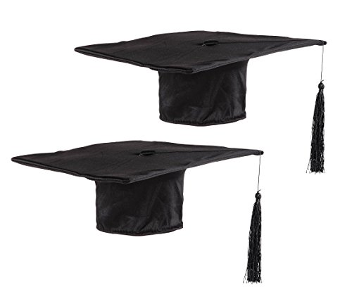 Graduation Cap - 2-Pack Black Graduation Hat for Adults, 2019 Grad Cap with Tassel, Mortarboard Cap, 11 x 11 Inches, One Size Fits Most -
