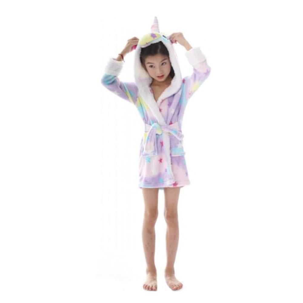 LANTOP Kids Unicorn Bathrobe Soft Flannel Robe All Seasons Unisex Sleepwear Warm Gift