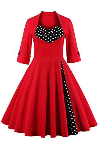 MisShow Women's Vintage 1950s Style 3/4 Sleeve Red Splice Flare A-line Dress ()