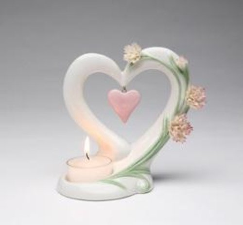 Cosmos 10431 Fine Porcelain Carnation Heart Tea Light Holder, 5-Inch (Heart Tealight)
