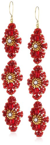 Miguel Ases Rubellite Bead and 14k Gold Filled Linear Earrings