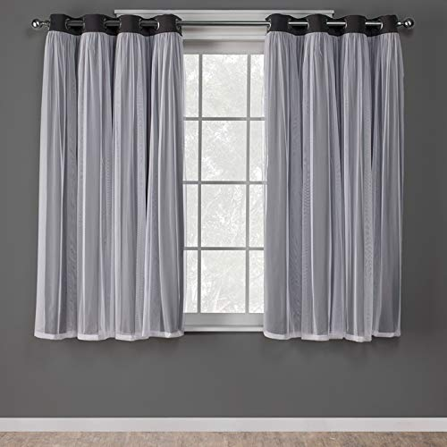 Exclusive Home Curtains Catarina Layered Solid Blackout and Sheer Window Curtain Panel Pair with Grommet Top, 52x63, Black Pearl, 2 Piece (Barn Rooms Inspired Pottery)