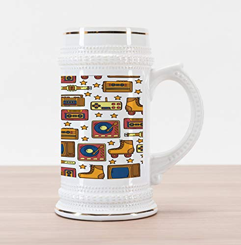 Ambesonne 90s Beer Stein Mug, 90s Theme with Old Style Recorder Stereo Television Roller Skate Shoes Electronic Watch, Traditional Style Decorative Printed Ceramic Large Beer Mug Stein, Mustard