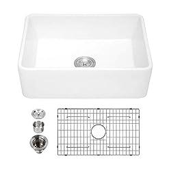 Farmhouse Kitchen White Farmhouse Sink – Kichae 30 Inch White Kitchen Sink Apron Front Reversible Ceramic Porcelain Fireclay Single Bowl… farmhouse kitchen sinks