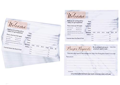 Prayer Request and Church Visitor Card Set - 100-Pack Prayer Cards with Fill-In Blank Postcard Style, Double-Sided, Marble Design, 3 x 5 Inches