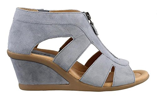 (Earth Women's, Poppi Mid Heel Wedge Sandals Blue 10 M)