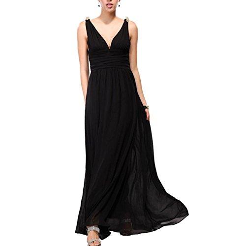 KAXIDY Mujer Vestido Largos Elegante V-Cuello Profundo Coctel Maxi Vestido Negro
