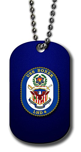 ExpressItBest Aluminum Dog Tag Necklace and Key Ring - US Navy USS Boxer (LHD-4), amphibious (crest) (Ring Amphibious)