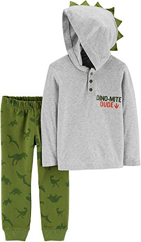 Carters Baby Boys 2 Pc Dinosaur Hooded Henley Jogger Pants,Multi ,9 Months  -