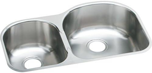 Elkay EGUH311910L Offset 40 60 Double Bowl Undermount Stainless Steel Kitchen Sink
