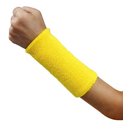 Sunward Unisex 6 Inch Long Thick Cotton Wristband,sports Performance Wrist Band Sweatband Arm Band, Stretchy Wrist Support Protector (Yellow) ()