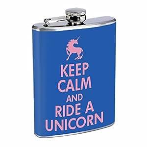 KEEP CALM AND RIDE A UNICORN Flask 8oz D-080