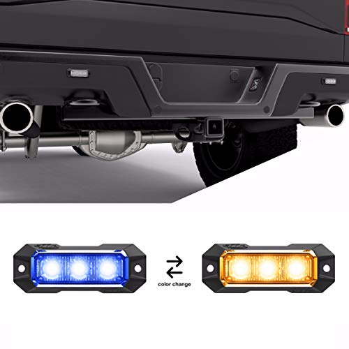 SpeedTech Lights Z-3 9W LED Strobe Light for Police Cars, Construction Trucks, Service Vehicles, Plows, Emergency Vehicles. Surface Mount Grille Flashing Hazard Beacon Light Blue/Amber (Blue/Yellow) ()