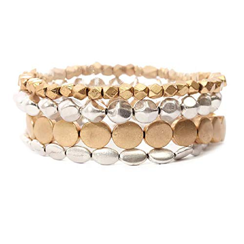 Rosemarie Collections Women's Two Tone Beaded Stretch Bracelet Set of 4