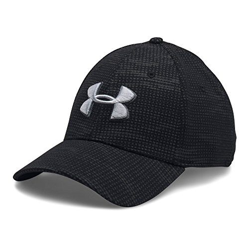 Under Armour Men's Printed Blitzing Stretch Fit Cap, Black/Rhino Gray, Large/X-Large