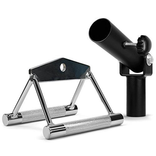 Yes4All Combo T-Bar Row Insert Landmine & Seated Row Double D Handle for Cable Attachment - Double D Row Handle (Chrome) ()