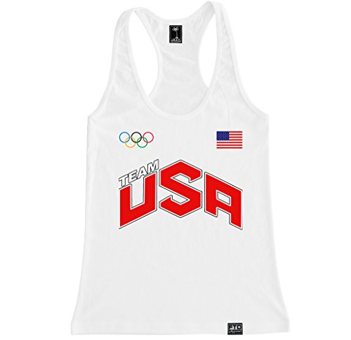 FTD Apparel Women's USA Racerback Tank Top - Small White -