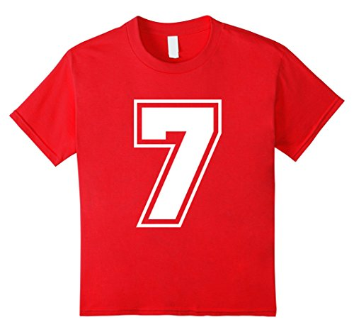 [Kids Number 7 T-Shirt - More Colors Letters & Numbers Available 8 Red] (College Girls Group Halloween Costumes)