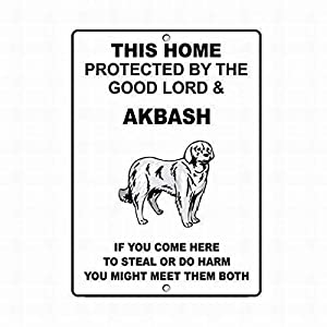 Jesiceny New Tin Sign Akbash Dog Home Protected Good Lord Sign Aluminum Metal Sign for Wall Decor 8x12 INCH 14