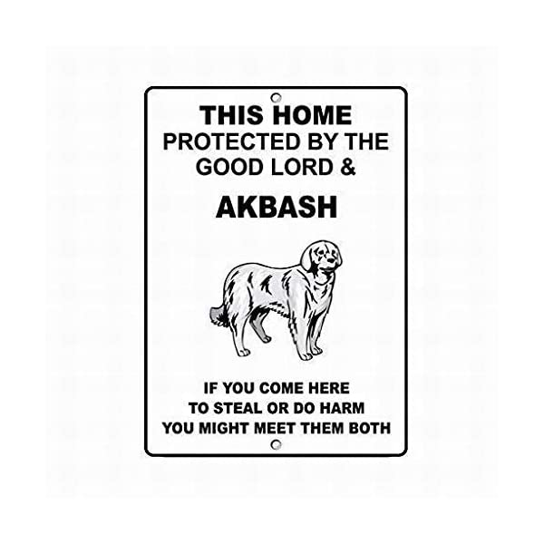 Jesiceny New Tin Sign Akbash Dog Home Protected Good Lord Sign Aluminum Metal Sign for Wall Decor 8x12 INCH 1