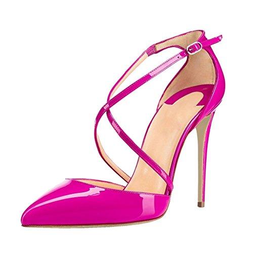 Talon Cuir Aiguille Rose Escarpins Femme Soiree Synthétique Bride Club Edefs Brillant Chaussures Sexy Cheville OI8WqqznH