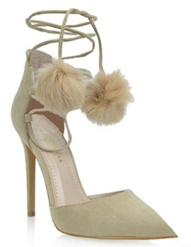 61f99f2e042 SR Kiola Pointy Toe Tie Lace Up Fur Pom Tassel Stiletto High Heel Shoe Pump  Nude hot sale 2017