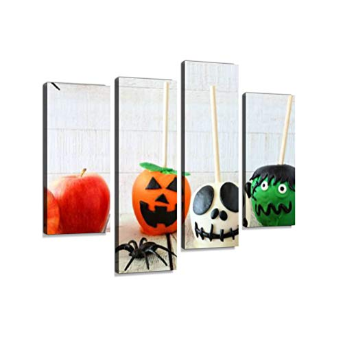 Halloween Candy Apple Scene Against a White Wood backgroundCanvas Wall Art Hanging Paintings Modern Artwork Abstract Picture Prints Home Decoration Gift Unique Designed Framed 4 Panel