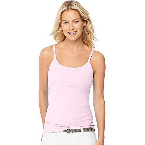 Pink Cotton Cami (Hanes Women's Stretch Cotton Cami With Built-In Shelf Bra_Paleo Pink_L)