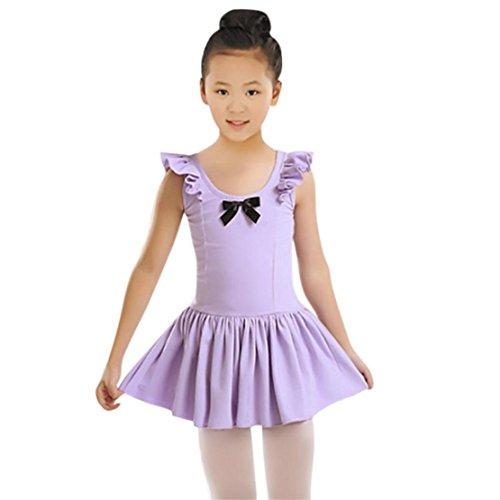 DORIC Toddler Girls Ballet Dress Ruched Leotard Dance Gymnastics Dress Clothes (Funky Dance Costumes Uk)