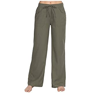 a3ad3bfc914e3 Tom Franks Linen Blend Full Length Trousers with Ribbed Waist ...