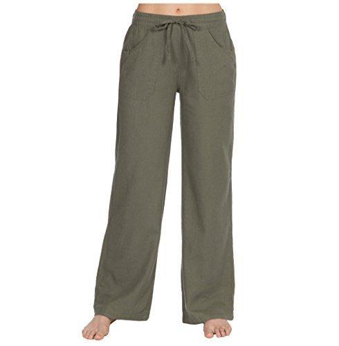 Femmes Décontracté Lin Insignia Pantalon 18 Bas 10 Taille Kaki Rapnq76nZw