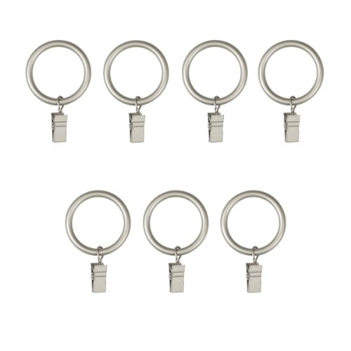 - Umbra Clip Curtain Rings - Large Curtain Rings with Metal Clips for 1 Inch Curtain Rods, Set of 7, Nickel