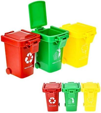6pcs Mülltonnen Spielzeug Kunststoff Mini Mülleimer Spielzeug Min Kinder Spielzeug Tischmülleimer Tisch Mülltonne Mit Spruch Auto Zubehör Für Kinder Küche Haushalt