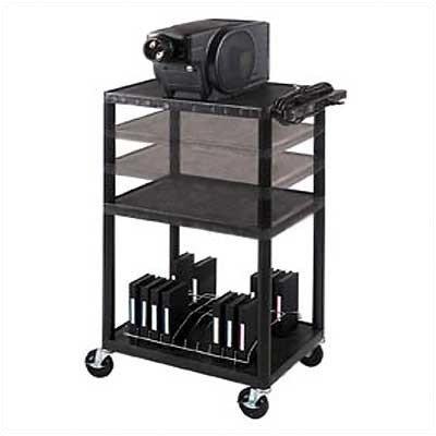 (LUXOR LPDUO-B Shelves Multi Height LP Cart, 18