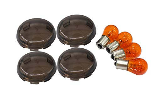 4 Pack Front Rear Turn Signal Light Smoked Lens Lense Covers Caps Kit with Bulbs
