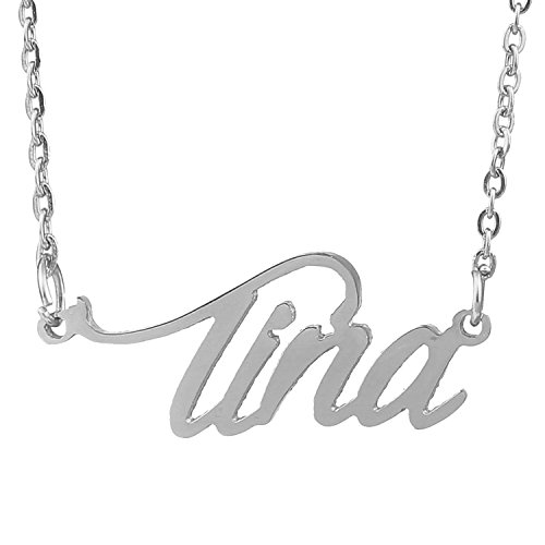 HUAN XUN Stainless Steel Tiny Best Friend Name Necklace, Tina