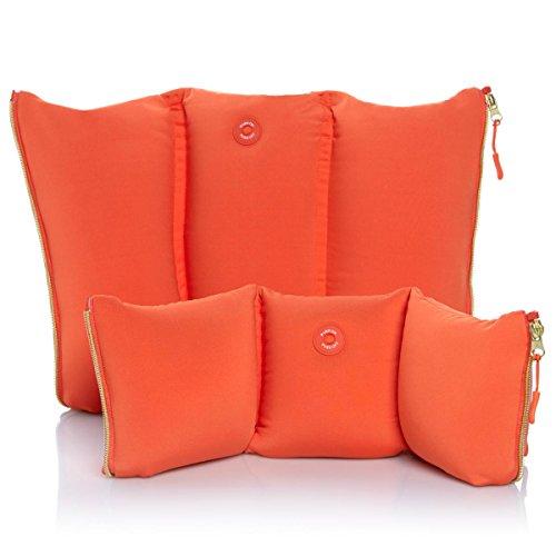 Joy Mangano FleXassage Hands-Free Body Massager Pillow with Neck Massager Tangerine