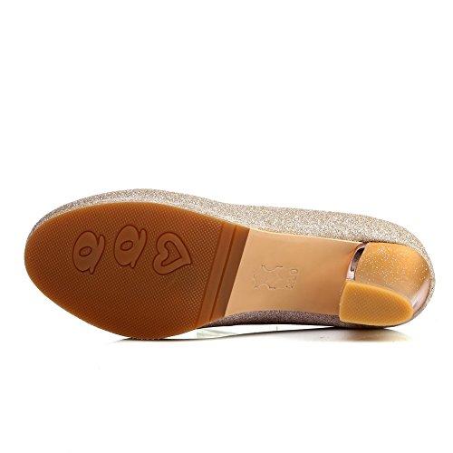 Balamasa Damer Chunky Klackar Rund Tå Pådrags Imiterade Läder Pumpar-skor Guld