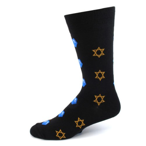 Absolute Stores Mens Star of David & Dreidel Socks-Black