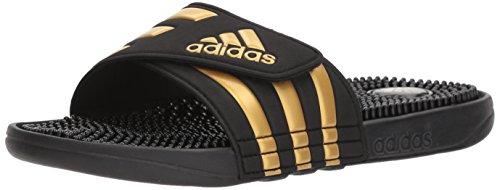 adidas Mens Adissage Sport Sandal, Ftwr White, Gold Met, Ftwr White, 14 M US Legend Ink/Metallic Gold/Legend Ink