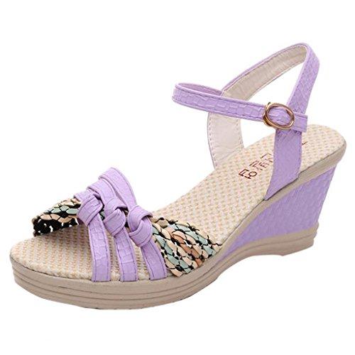 Binying Women's Fashion Buckle Peep Toe Wedge Sandals Purple j54GxDK7