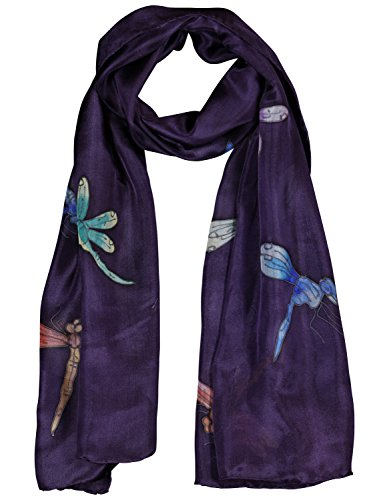 Invisible World Women's 100% Silk Hand Painted Scarf Dragonflies (Hand Painted Dragon)