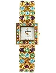 Peugeot Womens 835G Square Gold-Tone Multi Color Crystal Bracelet Watch