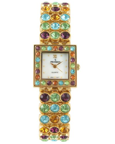 Peugeot Women's 835G Square Gold-Tone Multi Color Crystal Bracelet Watch