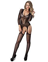 Leg Avenue Women's Long Sleeve Ring Net and Floral Lace Suspender Bodystocking