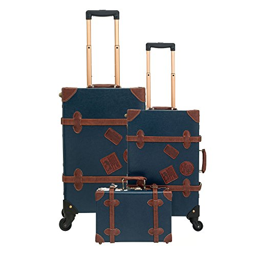 UNIWALKER Vintage Suitcase 3 Piece Luggage Set (Navy Blue) by UNIWALKER